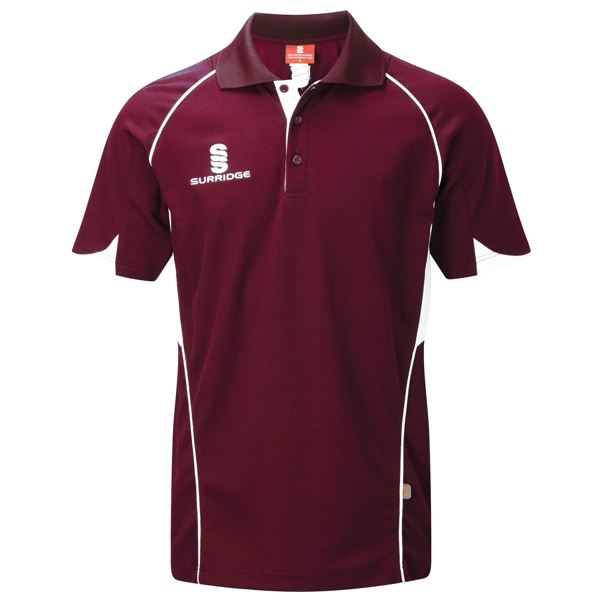 Surridge Sport - Curve Polo Shirt - Maroon/White