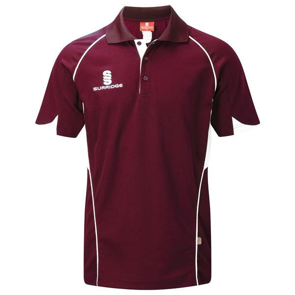 Afbeelding van Curve Polo Shirt - Maroon/White