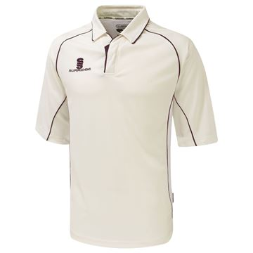Picture of Premier Cricket Shirt - 3/4 Sleeve - Maroon Trim