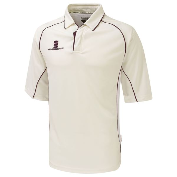 Image sur Premier Cricket Shirt - 3/4 Sleeve - Maroon Trim