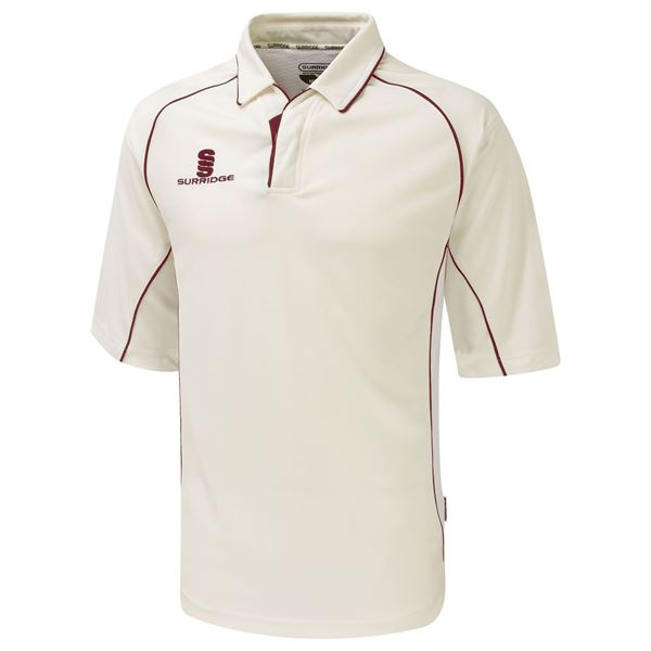 Afbeelding van Premier Cricket Shirt - 3/4 Sleeve - Red Trim