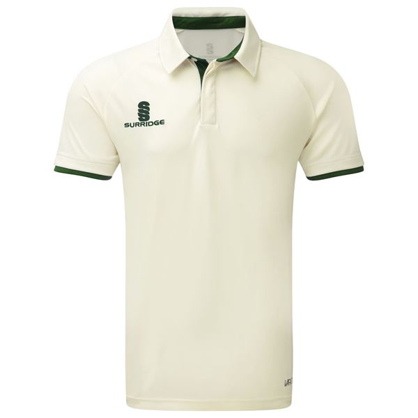 Picture of Tek Cricket Shirt - Short Sleeve : Green Trim