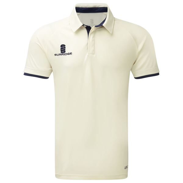 Afbeelding van Tek Cricket Shirt - Short Sleeve : Navy Trim