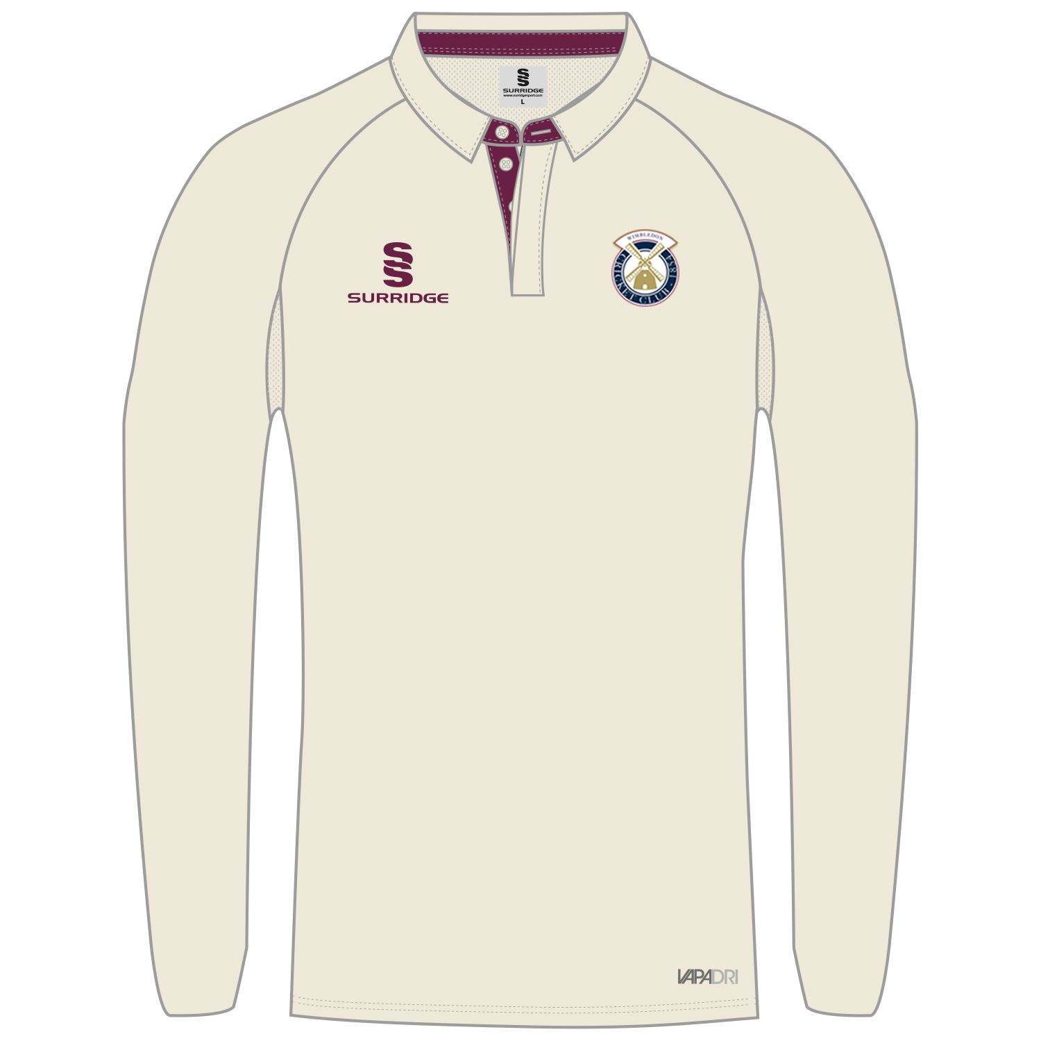 Surridge Sport Wimbledon Cricket Club Ergo Long Sleeve Cricket Shirt