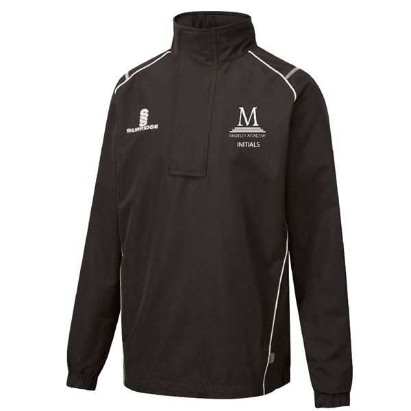 Picture of Madeley Academy 6th Form - Curve 1/4 Zip Rain Jacket - Black - White