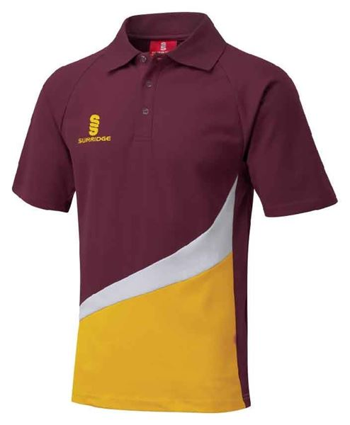 Surridge Sport - Polo Shirt - Maroon/Amber/White