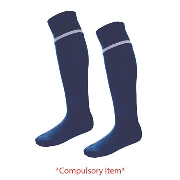 Afbeeldingen van Haslingden High School - PE Socks - Navy with single white hoop (Compulsory Items)
