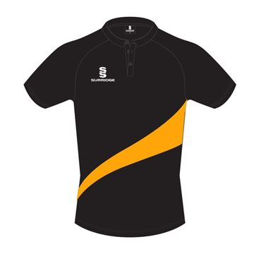 Image de POLO SHIRT IN BLACK WITH AMBER SWOOSH
