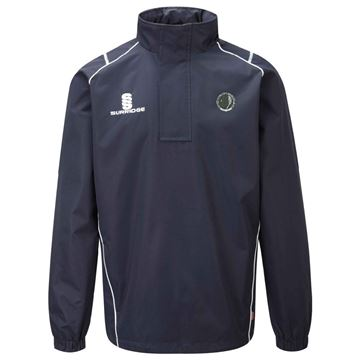Picture of Haslingden Squash Club Curve 1/4 Zip Rain Jacket - Navy/White