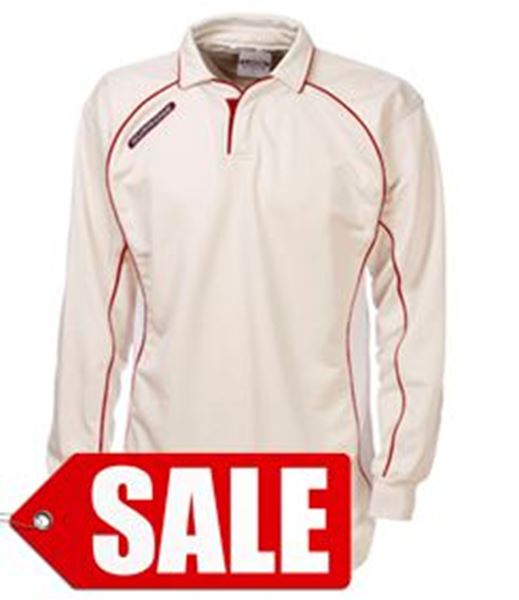 Bild von LONG SLEEVE CRICKET SHIRT - CREAM/RED (SALE)