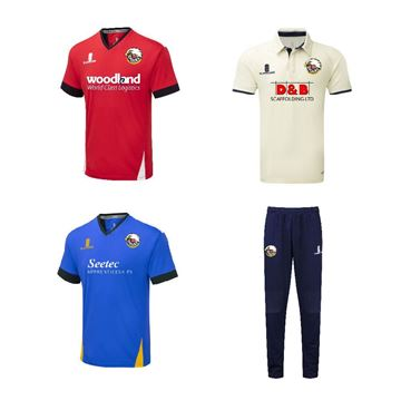 Picture of ESSEX U14 U15 U18 - White playing Shirt - Blue Training Shirt - Coloured playing trousers and red playing Shirt Bundle