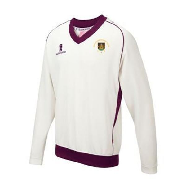 Picture of Guildford CC Long Sleeve Sweater Maroon Trim