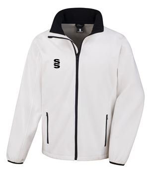 Afbeeldingen van White Softshell Full Zip Jacket - Suitable for Umpiring