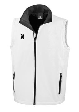 Afbeeldingen van White Softshell Full Zip Gilet - Suitable for Umpiring