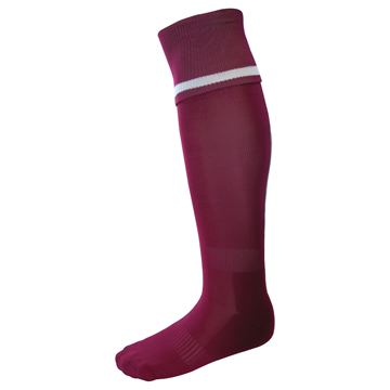Afbeeldingen van Single Band Sock - Maroon/White