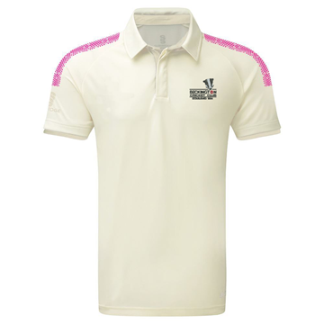 Picture of Beckington CC Ladies Dual S/S Cricket Shirt - white / pink
