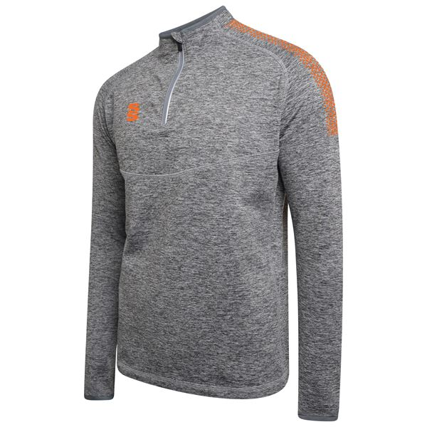 Picture of 1/4 Zip Dual Performance Top - Silver Marl/Orange