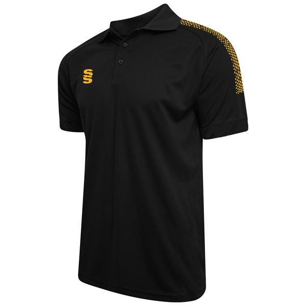 Afbeelding van Dual Solid Colour Polo - Black/Amber