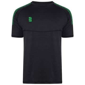 Bild von Dual Gym T-Shirt- Black Melange/Emerald