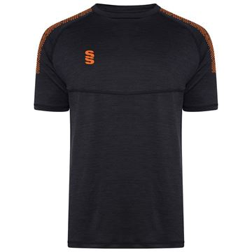 Afbeeldingen van Dual Gym T-Shirt- Black Melange/Orange