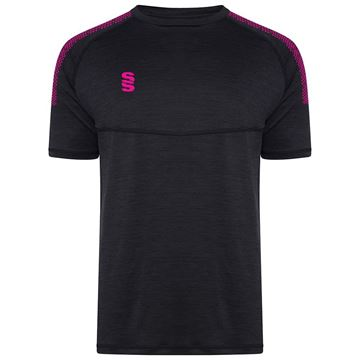 Picture of Dual Gym T-Shirt- Black Melange/Pink