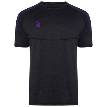 Picture of Dual Gym T-Shirt- Black Melange/Purple