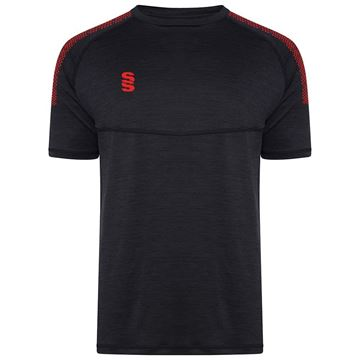 Afbeeldingen van Dual Gym T-Shirt- Black Melange/Red
