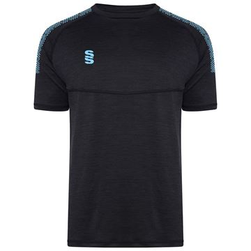 Picture of Dual Gym T-Shirt- Black Melange/Sky