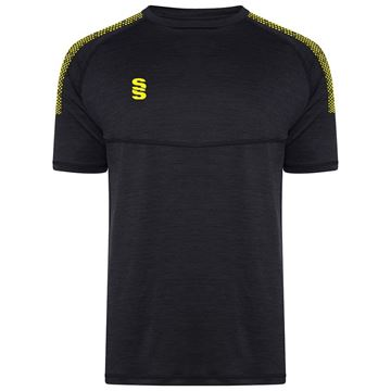 Image de Dual Gym T-Shirt- Black Melange/Yellow