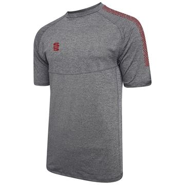 Picture of Dual Gym T-Shirt- Grey Melange/Maroon