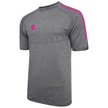Picture of Dual Gym T-Shirt- Grey Melange/Pink