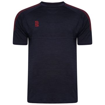 Picture of Dual Gym T-Shirt- Navy Melange/Maroon