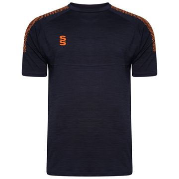 Image de Dual Gym T-Shirt- Navy Melange/Orange