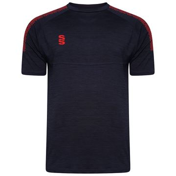 Image de Dual Gym T-Shirt- Navy Melange/Red