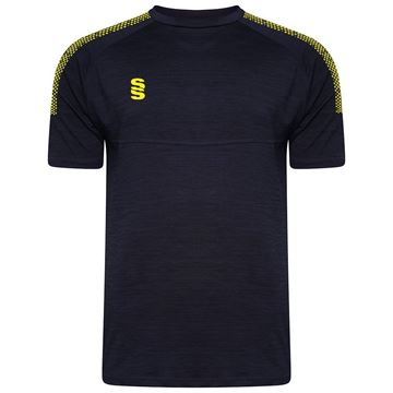 Afbeeldingen van Dual Gym T-Shirt- Navy Melange/Yellow