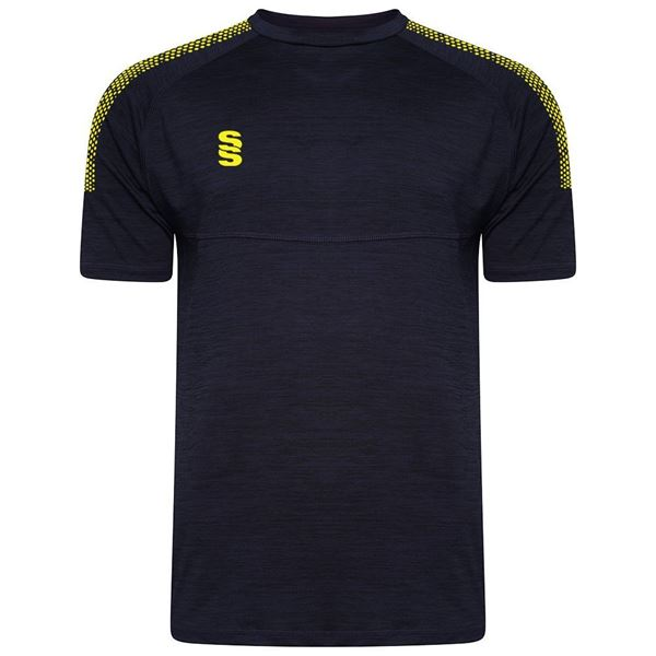 Picture of Dual Gym T-Shirt- Navy Melange/Yellow