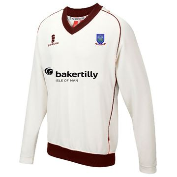 Picture of Cronkbourne Cricket Club Curve Long Sleeved Sweater with Maroon Trim