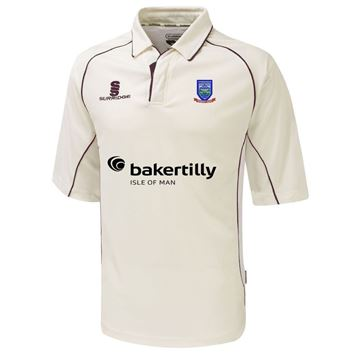 Picture of Cronkbourne Cricket Club Premier 3/4 sleeve Cricket Shirt with Maroon Trim