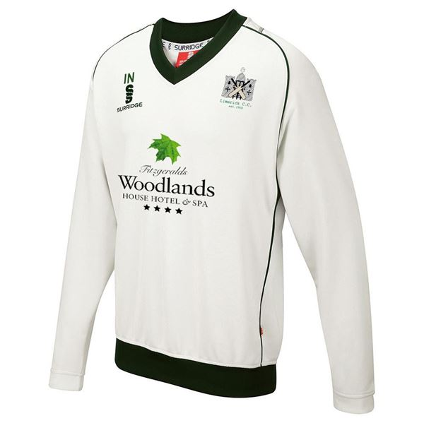 Image sur Limerick Cricket Club Long Sleeve Sweater Green Trim