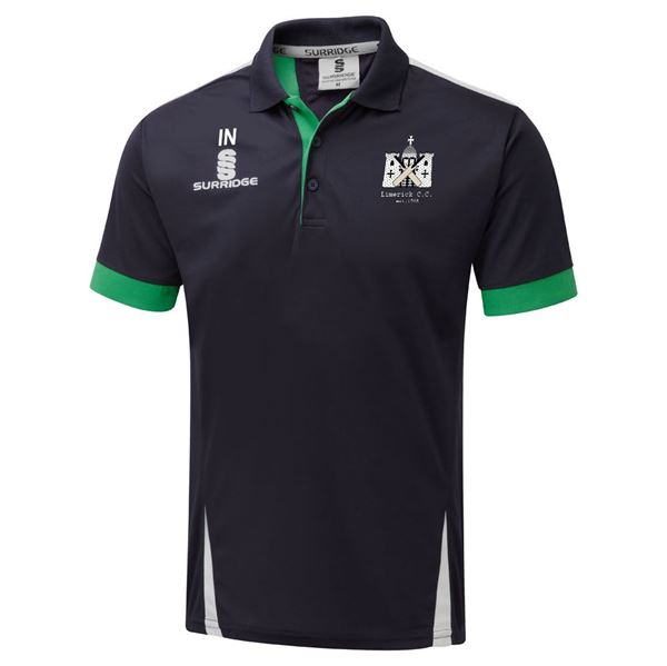 Image sur Limerick Cricket Club Blade Polo Navy/Emerald/White