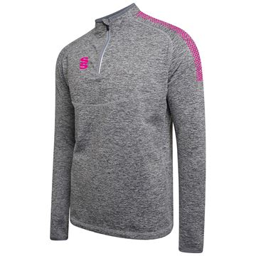 Picture of 1/4 Zip Dual Performance Top - Silver Marl/Pink