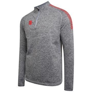 Afbeeldingen van 1/4 Zip Dual Performance Top - Silver Marl/Red