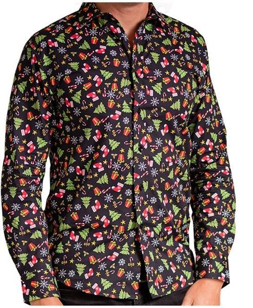 Picture of Black Assorted - Printed Christmas Shirt