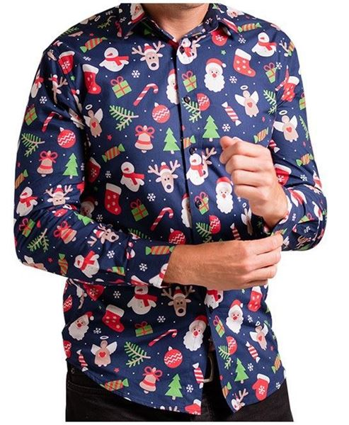 Picture of Blue Assorted Printed Christmas Shirt