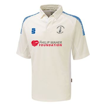 Picture of Great Harwood CC Premier 3/4 Sleeve shirt Ivory/Royal