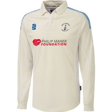 Picture of Great Harwood CC Premier Long Sleeve shirt Ivory/Royal